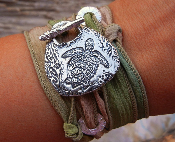 Sea Turtle Silk Wrap Bracelet - HappyGoLicky Jewelry