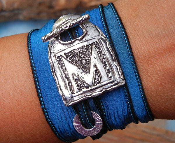 Monogram Initial Silk Wrap Bracelet - HappyGoLicky Jewelry