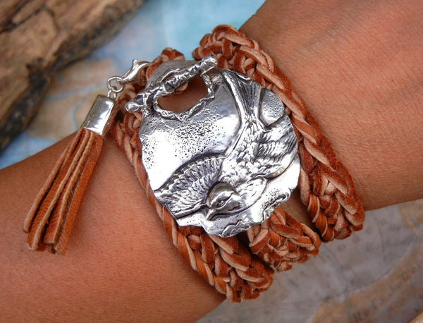 Split Tail Swallow Bird Leather Wrap Bracelet - HappyGoLicky Jewelry