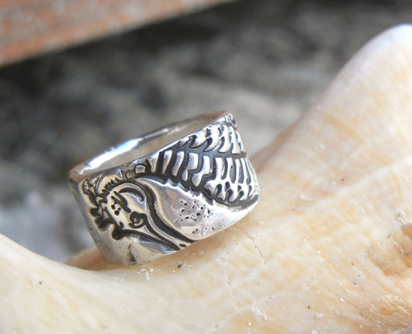 Seahorse Silver Beach Ring - HappyGoLicky Jewelry