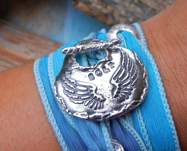Angel Wings Silk Wrap Bracelet