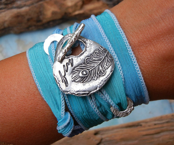 Peacock Fly Silk Wrap Bracelet - HappyGoLicky Jewelry