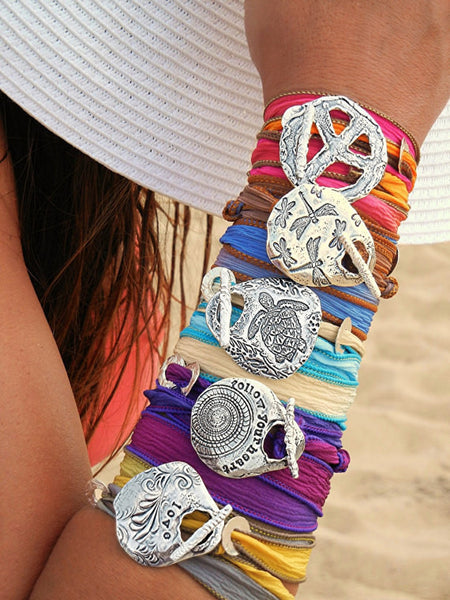 Beach Lover Sea Turtle Silk Wrap Bracelet - HappyGoLicky Jewelry