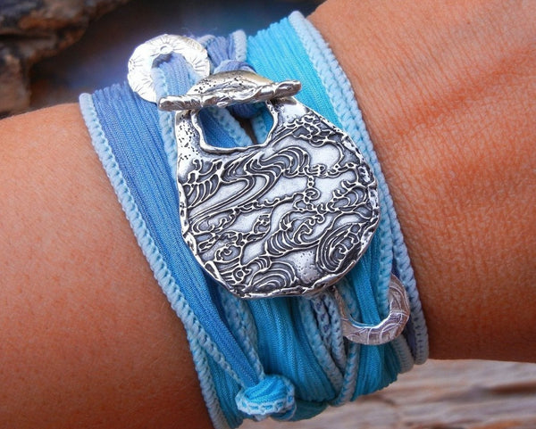 Ocean Waves Silk Wrap Bracelet - HappyGoLicky Jewelry