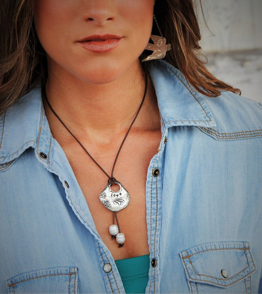 Leather & Pearl LOVE Boho Necklace - HappyGoLicky Jewelry