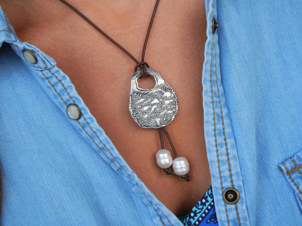 Nautical Jewelry Ocean Waves Necklace