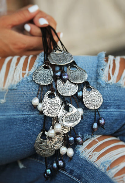 Leather & Pearl LOVE Boho Necklace
