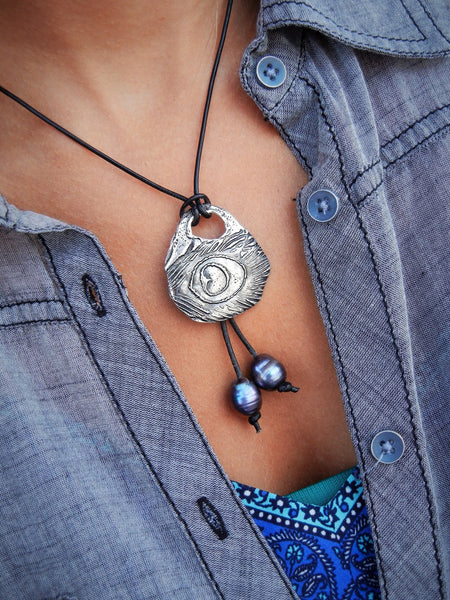 Sterling Silver Peacock Feather Boho Necklace