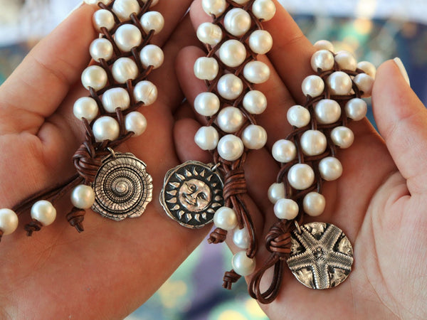 Leather & Pearl Charm Bracelet - HappyGoLicky Jewelry