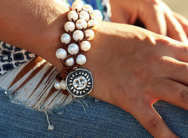 Leather & Pearl Charm Bracelet