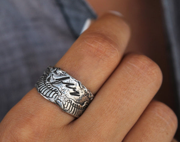 Sterling Silver Bohemian Ring with Angel Wings - HappyGoLicky Jewelry