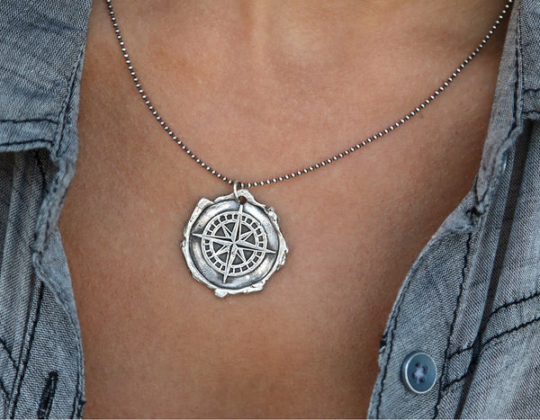 Wax Seal Compass Necklace in Sterling Silver
