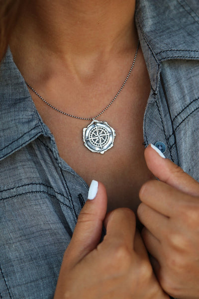 Wax Seal Compass Necklace - HappyGoLicky Jewelry