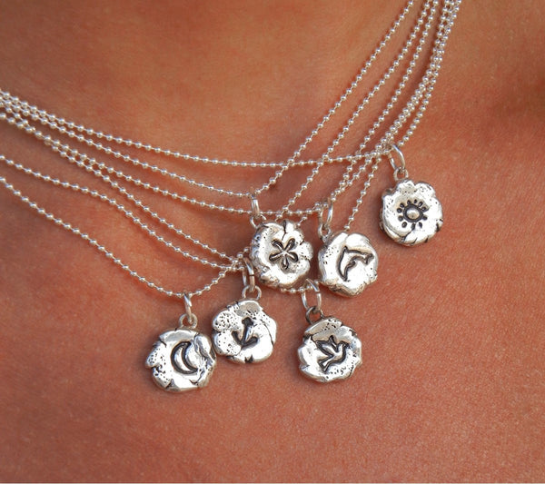 Tiny Silver Symbolic Necklace - HappyGoLicky Jewelry