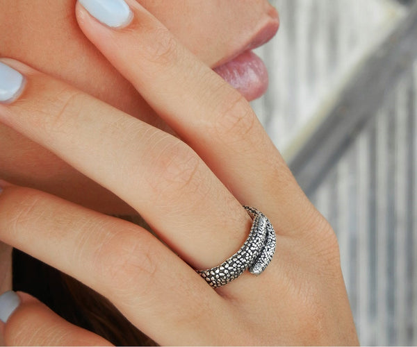 Starfish Adjustable Sterling Silver Ring - HappyGoLicky Jewelry