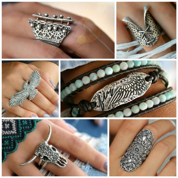 Sterling Silver Rings and Boho Jewelry Collection by HappyGoLicky