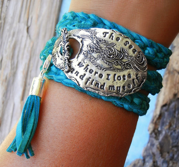 Custom Quote Leather Wrap Bracelet - HappyGoLicky Jewelry