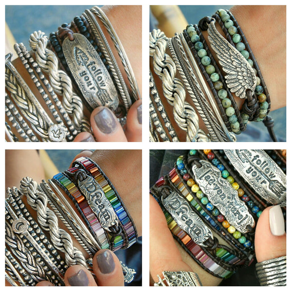 Bohemian Fashion Leather Wrap Bracelet - HappyGoLicky Jewelry