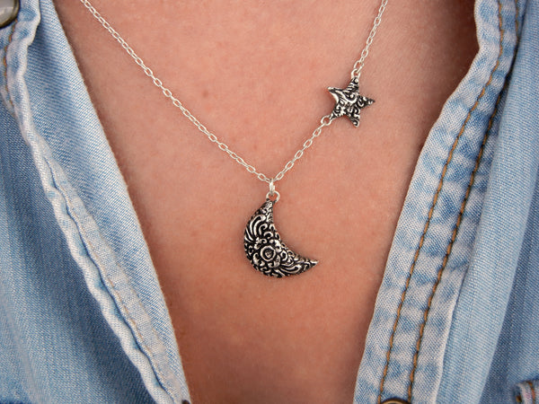 Moon and Star Necklace Celestial Jewelry