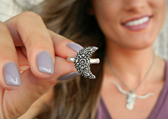Sterling Silver Moon Ring - HappyGoLicky Jewelry