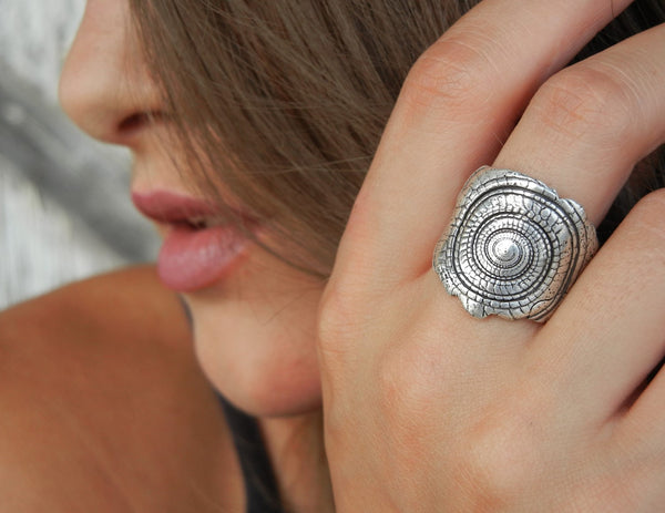 Nautical Sterling Silver Seashell Ring