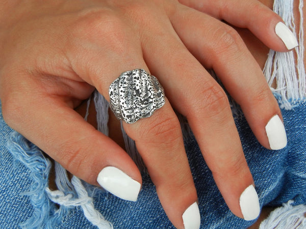 Scallop Shell Sterling Silver Ring - HappyGoLicky Jewelry
