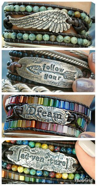 Angel Wing Leather Wrap Bracelet