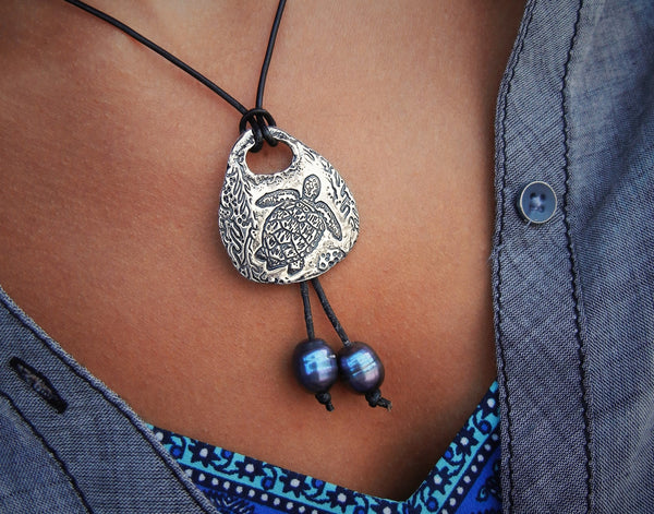 Sea Turtle Nautical Necklace - HappyGoLicky Jewelry