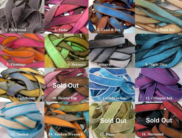 Hand Dyed Silk Ribbons Bracelet Replacement Fairy Crinkle Ribbons