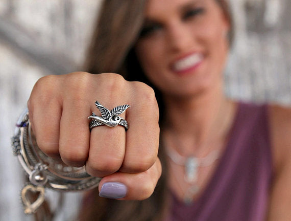 Silver Bird Boho Ring - HappyGoLicky Jewelry