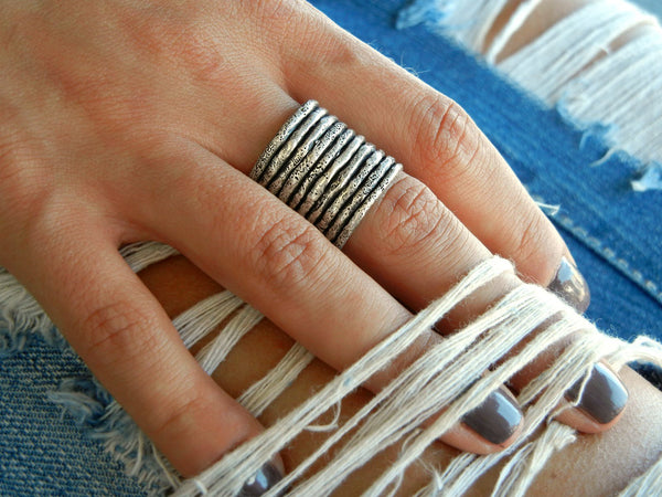 Adjustable Sterling Silver Stacking Rings - HappyGoLicky Jewelry