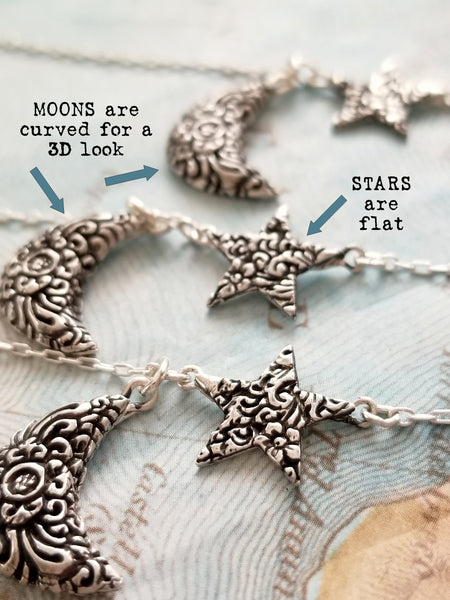 Happy Go Licky Jewelry Moon and Star Necklace
