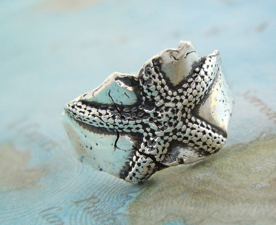 Starfish Silver Ring - HappyGoLicky Jewelry