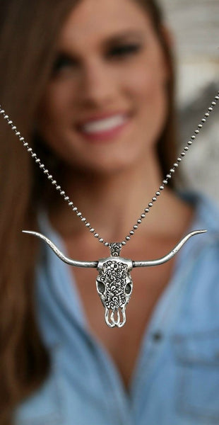 Western Bull Skull Necklace - HappyGoLicky Jewelry