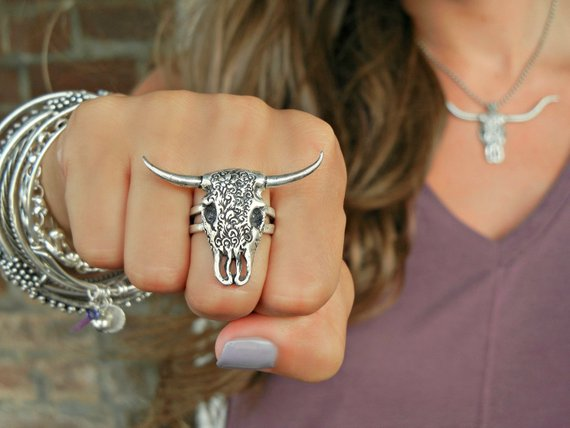 Steer Skull Ring - HappyGoLicky Jewelry