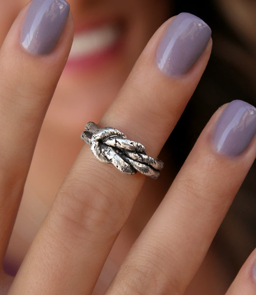 Sterling Silver Love Knot Ring - HappyGoLicky Jewelry