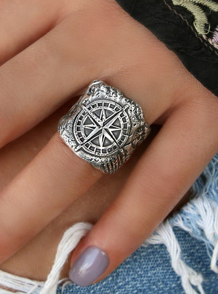 Wax Seal Jewelry Sterling Silver Compass Ring by HappyGoLicky Jewelry