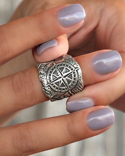 Beach Jewelry Compass Ring by HappyGoLicky Jewelry