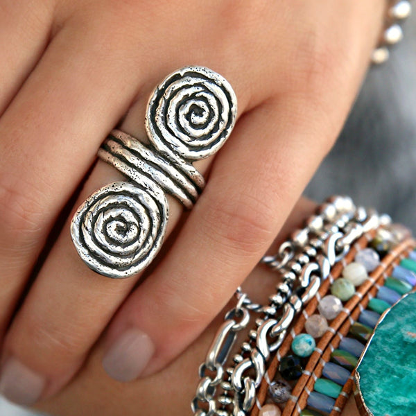 HappyGoLicky Jewelry Sterling Silver Ring Double Spiral