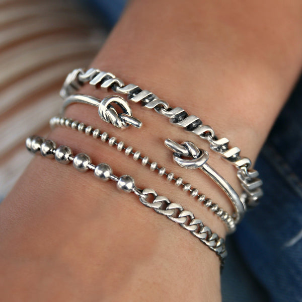 sterling silver bracelet stack by HappyGoLicky Jewelry
