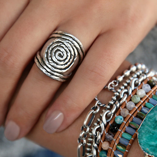 Sterling Silver Boho Rope Ring HappyGoLicky Boho Jewelry