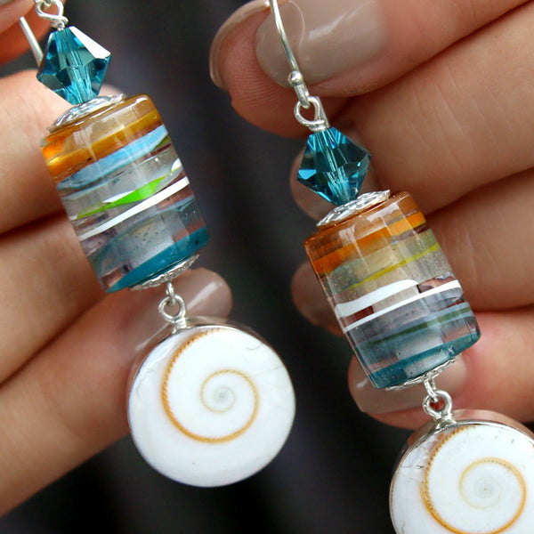 Surfite Earrings Recycled Surfboard Resin Jewelry by HappyGoLicky