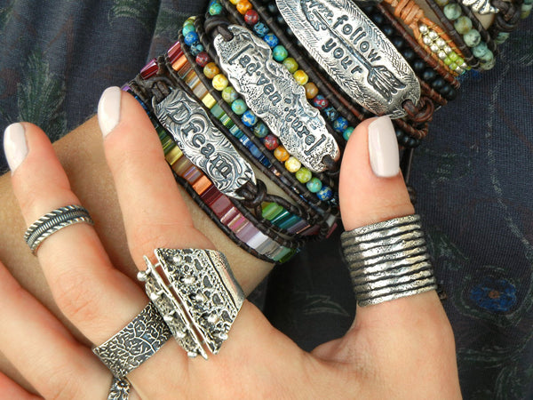 Boho Sterling Silver Stacking Rings by HappyGoLicky Jewelry