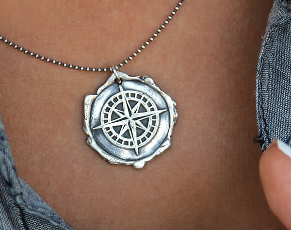 Sterling Silver Wax Seal Compass Necklace - HappyGoLicky Jewelry