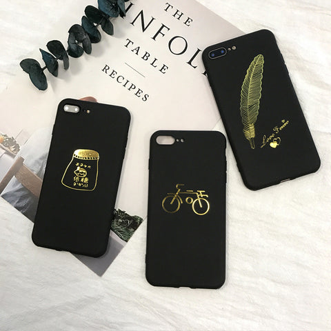 IPhone 6 6s 7 Plus Gold Feather Black Frosted Silicon TPU case
