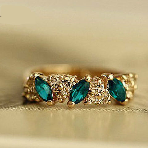 Retro Vintage crystal Gold  Sweet Rhinestone Rings For Women Girl