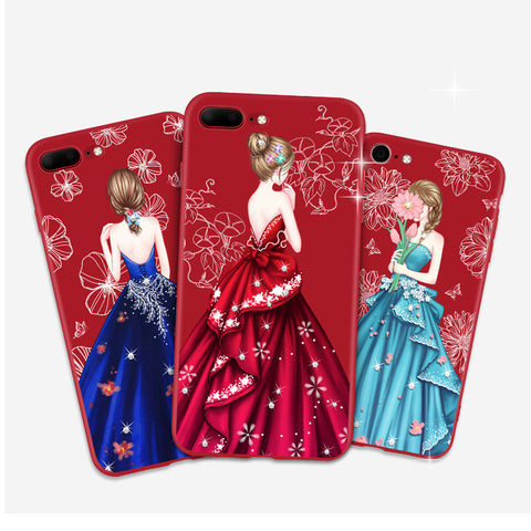3D Relief Back Case for iPhone 7 8 Plus Pretty Girl With Fashion Luxury Dress Skirt