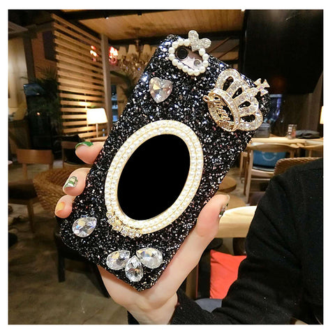 Fashion Diamond Pearl Mirror Crown  Cover For iPhone 7 6 6S Plus 5 5S SE