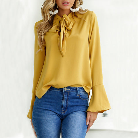 Fashion Women Tops Long Sleeve Bow flare sleeve Lady Basic