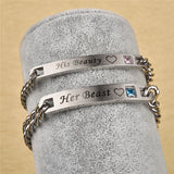 Couple Bracelets Stainless Steel Crown Crystal Bangles for Women Men Jewelry